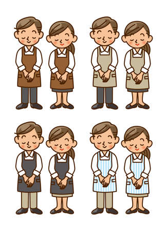 waiter, apron, staff, salesperson, salesclerk, pose photo