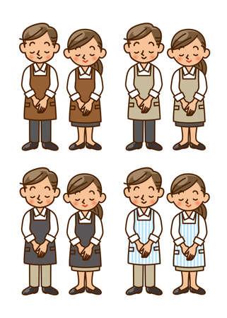 waiter, apron, staff, salesperson, salesclerk, pose Stock Photo