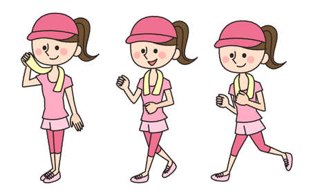 cute illustration: jogging working woman