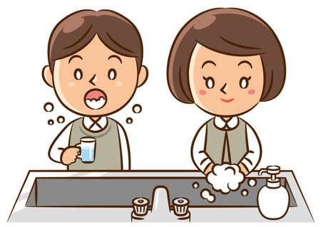 lavamanos: los niños se lavan las manos