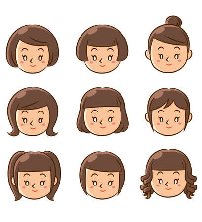 girls face icons Stock Photo