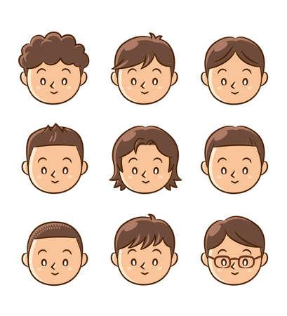child  boy face icons