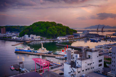 Cloudy sunset on Hiroshima port, Japan