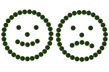 Chlorella smileys Stock Photo