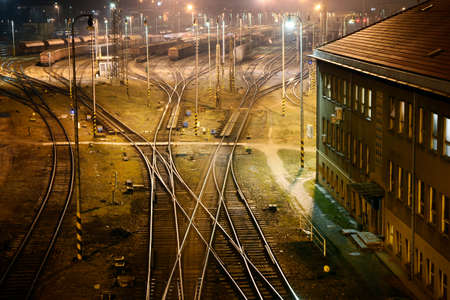 Big railway station for cargo trains in Brno in the night