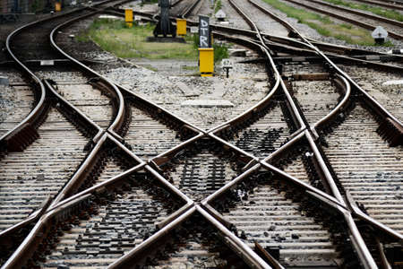 Rails, junctions and crossing in Amsterdam railway station Stock Photo - 20275212