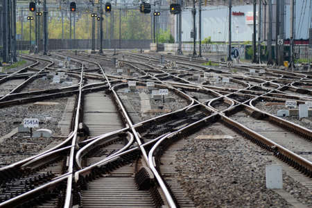 Many railway crossings and junctions at a big train station Stock Photo - 20419426