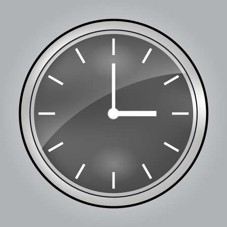 Gray wall clock at 3 o clock Illustration