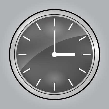 Gray wall clock at 3 o clock Illustration