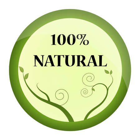 round sign with nature motives and 100  natural text Illustration