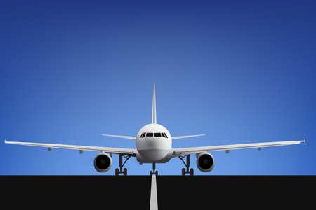 view from the plane: Avi�n de pasajeros de tama�o medio realista en el aeropuerto esperando para el despegue Vectores