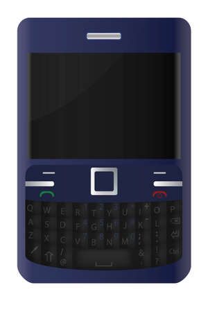 Blue cell phone with a PC keyboard - detailed vector