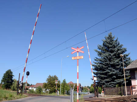 hand-operatet level rail crossing in the central Bohemia