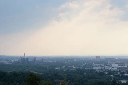Industrial city in the Czech Republic covered with smog