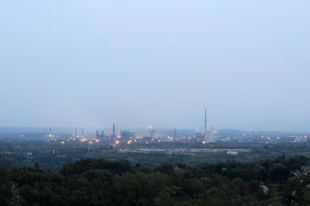 Big iron factory in the Czech Republic covered with smog, taken in the evening