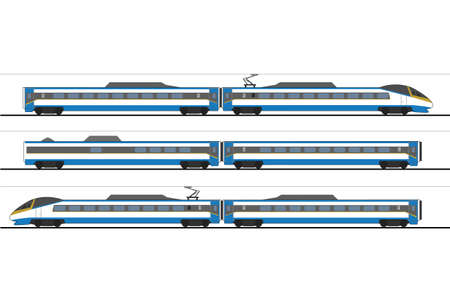 high speed train: High-speed trainset of Czech Railways called Pendolino, sideview vector illustration Illustration