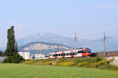 Regional electric passenger trainset near Bregenz, Austria
