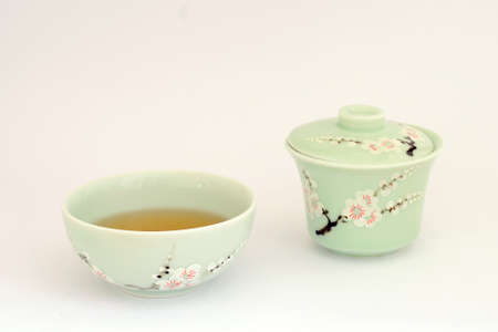 Green tea cup and tea bowl with chinese hand-painted decorations