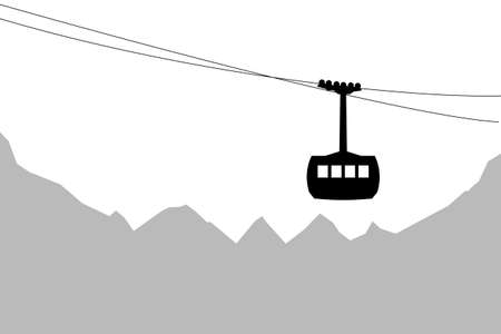 Vector illustration of cableway silhouette with the Alps