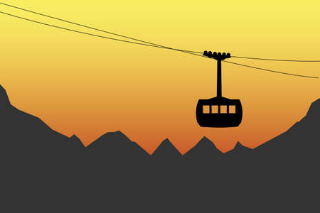 illustration of cabin cableway and mountains silhouettes during sunsetsunrise