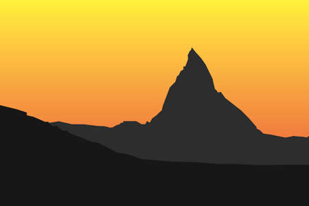 Simple silhouette of famous mountain Matterhorn in Switzerland during sunsetsunrise
