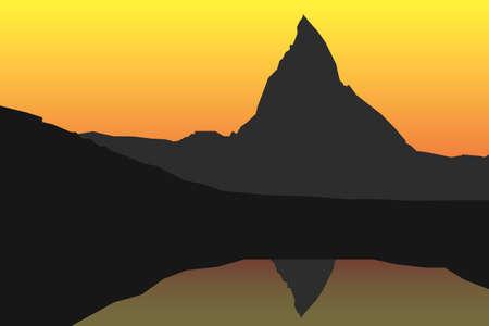 alpes suizos: Sunset escena  salida del sol con la famosa monta�a Matterhorn en Suiza y su reflejo en un lago