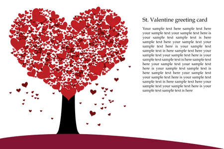 Vector st  Valentine illustration with heart shaped tree Illustration