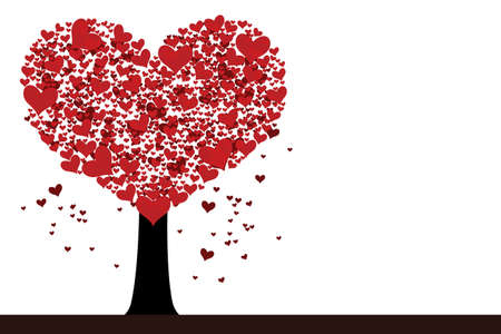 Vector st. Valentine illustration with heart shaped tree