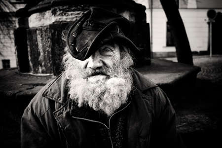 Old homeless man in Olomouc, Czech Republic Editorial