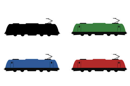 Universal electric locomotive in 4 colours side view vector set