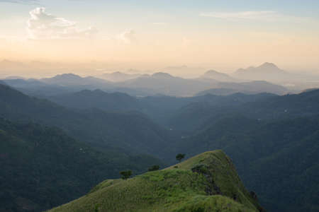 Beautiful view from the Sri Lanka mountains in the morning. Taken from Little Adam`s Peak in Ella