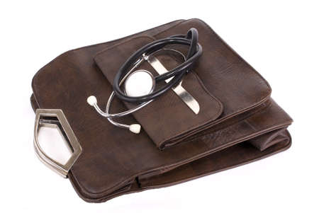 allocated: female bag and a stethoscope,allocated write background.