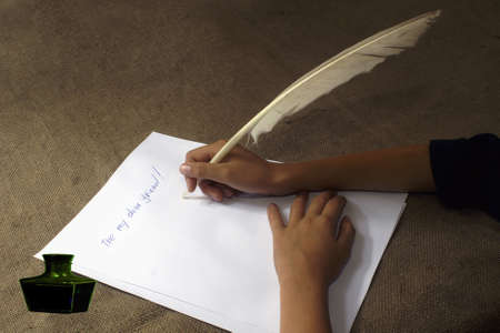 addressee: to write the letter to the friend a goose feather.