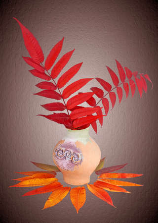 floristics: old vase and two brancher with red autumn leaves. Stock Photo