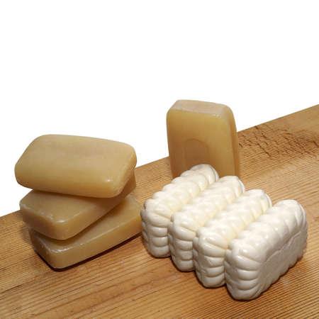 briquettes: some briquettes of economic and toilet soap.