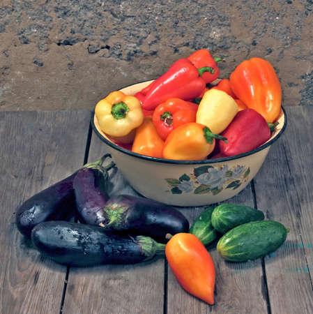 sweet pepper eggplants and cucumbers. photo