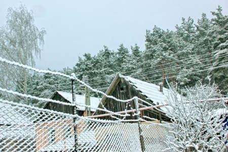 plentiful: A rural farmstead after a plentiful snowfall  Stock Photo