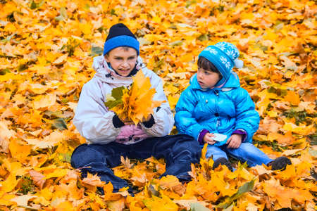 tenager: The boy and  the girl sit on a carpet from yellow leaves of a maple  Stock Photo