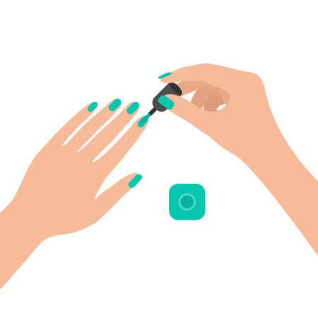 Girl paints her fingernails with gel. View from above. Vector illustration