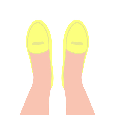 Yellow shoes top view. Feet in shoes. Women's classical shoes. Vector illustration