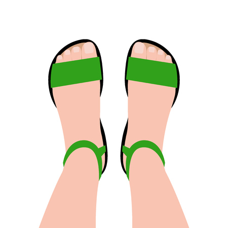 Green shoes top view. Feet in shoes. Women's casual shoes. Vector illustration