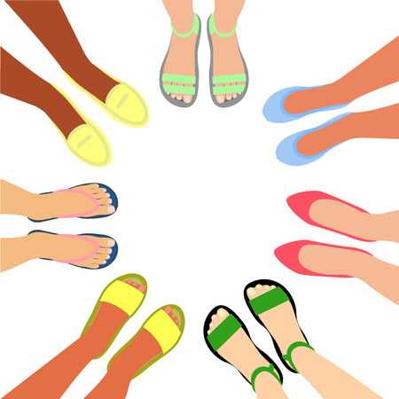 Summer footwear top view. Feet in shoes. Women stand in circle. Women's company of different nationalities. Vector illustration