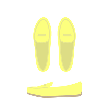 Yellow shoes top and side view. Women's casual shoes. Vector illustration