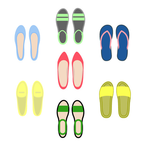 Set of women's shoes. View top. Open and closed summer shoes. Vector illustration