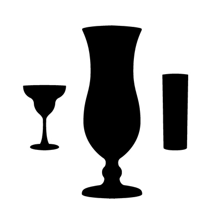 Glasses for cocktails. Three shapes, black silhouettes. Vector illustration 向量圖像