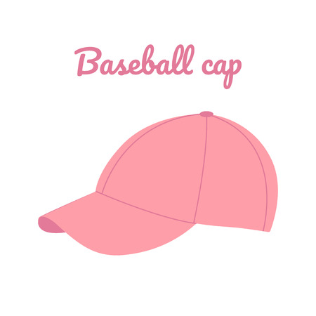 Pink woman baseball cap isolated on white background. Side view. Sports headdress, headgear. Vector illustration