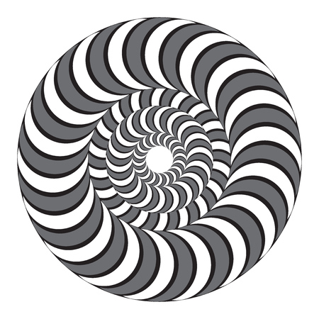 Hypnotic twisting spiral of black and white color. Concentric circles. Optical illusion. Vector illustration