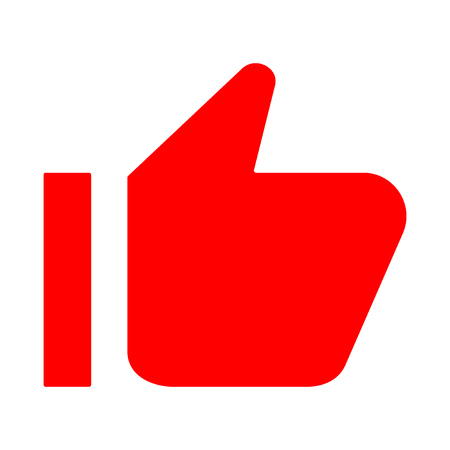 Red thumb up icon. Like, approval. Vector