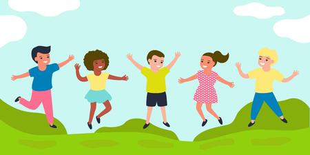 快乐的孩子一起跳。快乐的童年