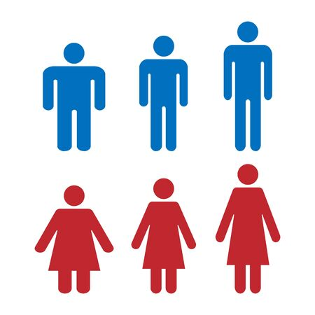 Icon is different shape and weight of men and women. Healthy weight, obese and tall people. Simple flat vector icons
